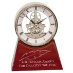 Silver Skeleton Clock on Rosewood Piano Base Achievement Awards