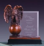 Eagle on Globe Imprint Frame Bronze Electroplated Resin Eagle Sculptures