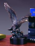 Ready for Flight Bronze Electroplated Resin Eagle Sculptures