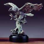 Pewter Tone Eagle Bronze Electroplated Resin Eagle Sculptures