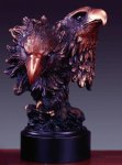 Two Bold Eagle Heads Bronze Electroplated Resin Eagle Sculptures