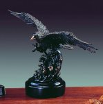 Eagle on Rounded Base Bronze Electroplated Resin Eagle Sculptures