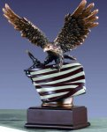 Eagle (small) with the American Flag Bronze Electroplated Resin Eagle Sculptures