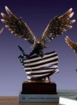 Eagle with American Flag Bronze Electroplated Resin Eagle Sculptures
