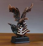Eagle with American Flag on Black Base Bronze Electroplated Resin Eagle Sculptures
