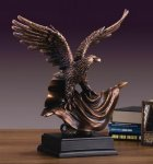 Bronze Eagle on American Flag Bronze Electroplated Resin Eagle Sculptures