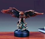 Ready for Take Off Bronze Electroplated Resin Eagle Sculptures