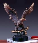 Keeping Watch Bronze Electroplated Resin Eagle Sculptures