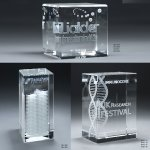 3D Etched Crystal Tower Clear Optical Crystal Awards