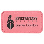 Leatherette Rectangle Name Badge With Magnet -Pink Name Badges | Plates