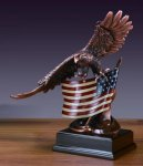 Bronze Eagle on American Flag Patriotic Awards