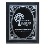 Frosted Acrylic Decorative Edge Cutout on Black Plaque Sales Awards
