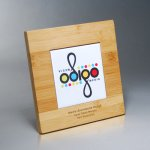 Bamboo Plaque with Digi-Color on White Tile Sales Awards