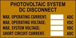 Photovoltaic System DC Disconnect Label Stock Solar Labels