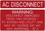 AC Disconnect W/Warning Sticker Stock Solar Labels