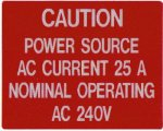 Caution: Power Source Label Stock Solar Labels